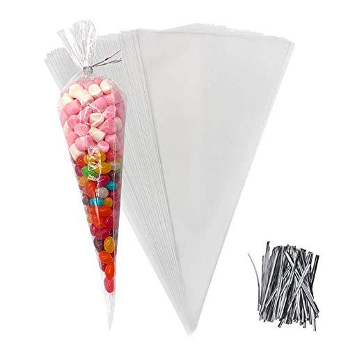 D2D Cone Cellofaan Zakken 100 x Clear Sweet Candy Bags met Twist Stropdassen voor bruiloften Kerstmis Verjaardagsfeest…