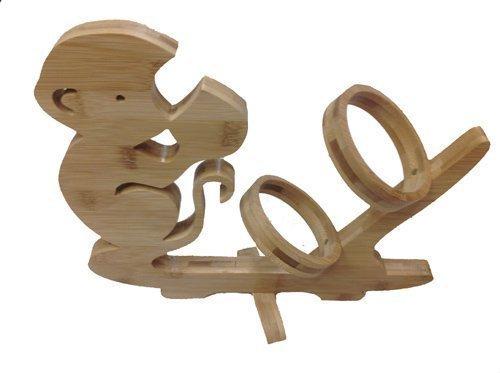 GMMH Diseño Mono Vino botellero de pie Soporte para Botella de Vino de Madera de bambú