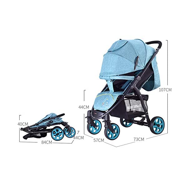 JXCC Baby Stroller High Landscape Children'S Shock Absorber Trolley Can Sit Reclining Baby Car Folding 0-3 Years Old -Safe And Stylish Grey JXCC IDEAL CHOICE FOR DAILY USING OR EXTEND TRAVEL - For families with a passion for local or overseas travel and exploring, it is the perfect priority as it stows away easily in any plane or train overhead bin, or just stowing away in the car BESREY CAPSULE BABY STROLLER WHICH IS SMALL BUT STRONG - Built using high quality, durable materials, the capsule stroller can hold a child from 6 months up to 36 months. BESREY SMALLEST FOLDING STROLLER - With its innovative two-step folding design, the stroller folding down to 84 x 40 x 44CM and a weight of 9KG. 3