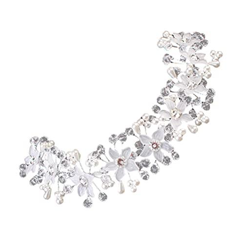 Holibanna Diadema de Cristal Perla Flor Diadema Bling Tocado Diamante Accesorios para El Cabello para La Decoración del Tocado de Novia de La Boda (Blanco)