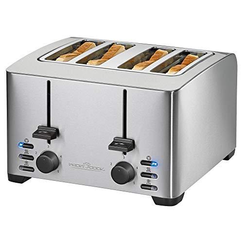ProfiCook PC-TA 1073 4-Scheiben-Toaster, Edelstahlgehäuse, 2x Brötchenaufsatz, stufenlos einstellbarer Bräunungsgrad, Zentrierfunktion, Krümelschublade