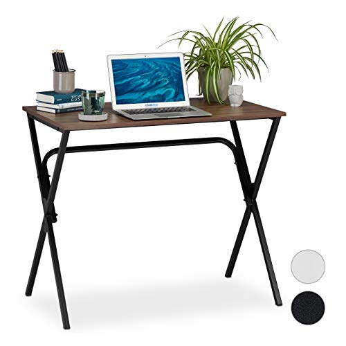 Relaxdays Schreibtisch, kompakt & platzsparend, Homeoffice, Jugendzimmer & Büro, HBT: 76 x 90 x 53 cm, braun/schwarz, PB