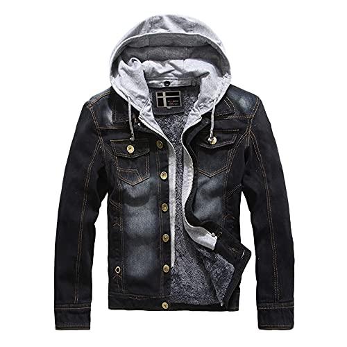 Nightborne Mens Denim Jacket Detachable Hood (Black,L)