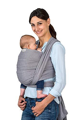 AMAZONAS Babytragetuch Carry Sling Grey - TESTSIEGER bei Stiftung Warentest mit Bestnote 1,7-510 cm 0-3 Jahre bis 15 kg in Grau