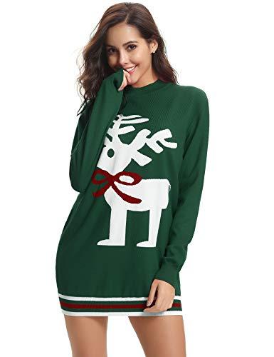 Aibrou Pull Noel Femme Tricot Hiver Noel Chaud Basic Tops Blouse Mode Sweat Chauds Sweatshirt Noel Femme (Vert, S)