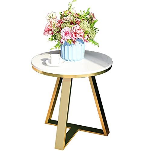 YUESFZ Leichter Luxus Snack Beistelltisch im italienischen Stil, Rockboard Sofa Beistelltisch Kleiner runder Tisch Moderner und einfacher Ecktisch für das Wohnzimmer (Color : A, Size : 50 * 60cm)