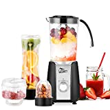 Blender Smoothie, 1.25L Mini Blender, Mixeur Blender pour Milk-Shake, Jus de Fruits...