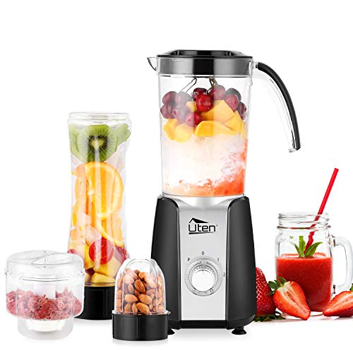 Frullatore Smoothie, Uten 5-in-1 Mini Blender Juicer, Frullatore per Frutta e Verdura, Frullatore Portatile con 2 Lame in Acciaio Inox e Bottiglie in Tritan per Sport, Viaggi, Senza BPA