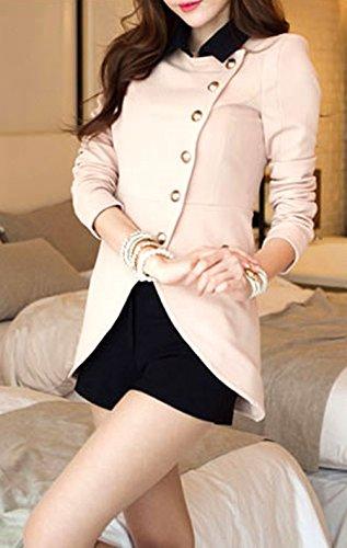 『襟付き バイカラー ショート丈 長袖 羽織 レディース (M, 桜色)』の3枚目の画像