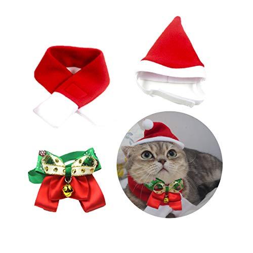 CeMieux Haustier Justierbare Weihnachtssankt Hut, 3 Stück Weihnachten Haustier Hut Schal Kragen Fliege für Kleine Hunde Katzen Haustier, Haustierkostüm (S)