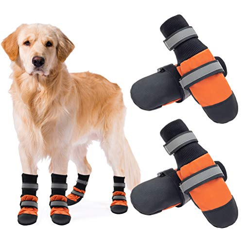 SCENEREAL Waterproof Dog Shoes - Anti-Slip Dog Boots, Reflective & Adjustable Dog Booties with Rugged Sole, Outdoor Pet Paw Protector for Small Medium Large Dogs, 2 Pairs