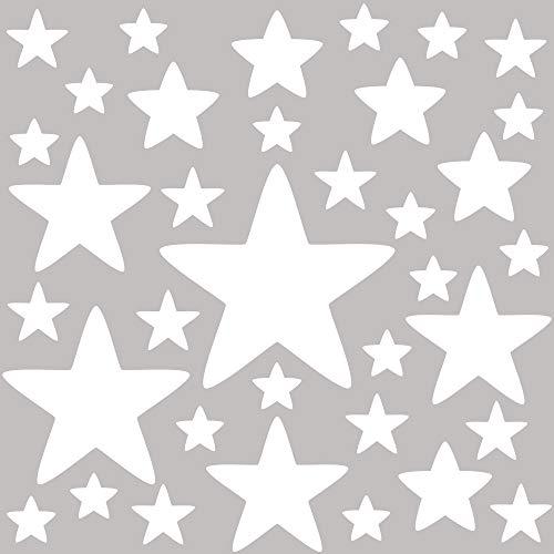 PREMYO 36 Estrellas Pegatinas Pared Infantil - Vinilos Decorativos Habitación Bebé Niños - Fácil de Poner Blanco