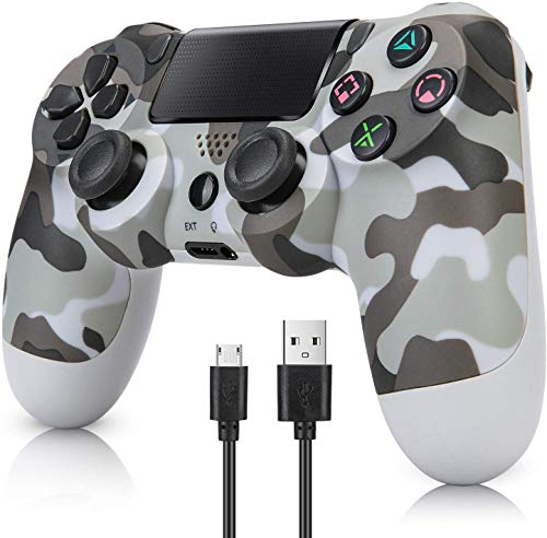 Wireless Controller für PS4, Game Controller Joystick für PlayStation 4 mit USB-Kabel, Camouflage Grau