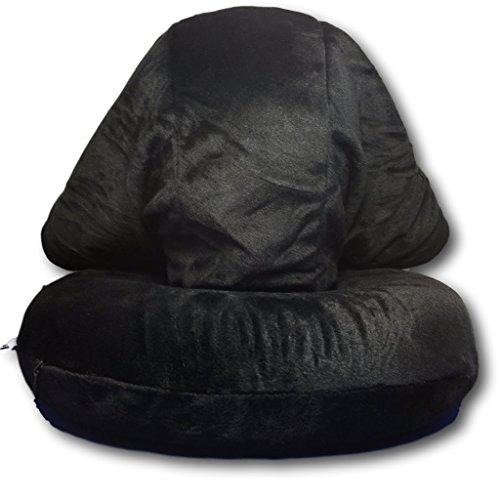 Capucha con cojín cervical, de Ekna, almohada de viaje, con capucha en gris, negro o rosa, la espuma memory + máscara de dormir + tapones