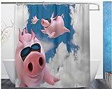 nobrand Duschvorhang Blue Sky Lustiges Schwein Piggy Flying Polyester Stoff Bad Duschvorhang 180x180cm mit 12 Haken