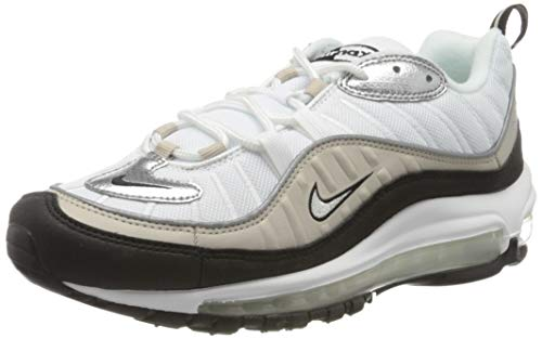 Nike W Air MAX 98, Zapatillas para Correr Mujer, White Metallic Silver Desert Sand Black, 44 EU