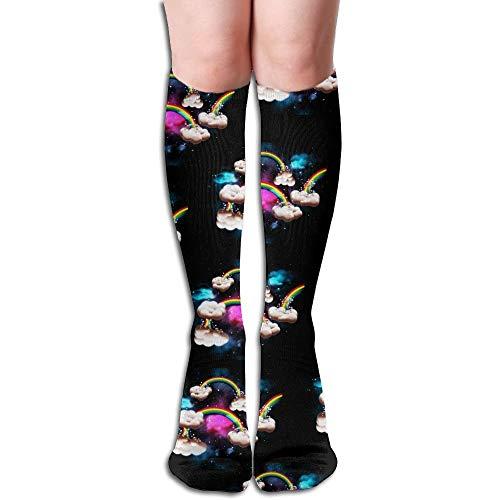 heefan Calcetines deportivos largos de viaje, con arco iris, hasta la rodilla, muslos.