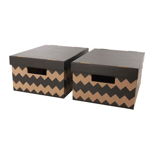 Ikea PINGLA Boxen mit Deckel; in schwarz/naturfarben; (28x37x18cm); 2 Stück