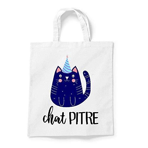 My-Kase Sac tote bag toile blanc chat pitre