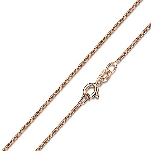 MATERIA Damen Halskette Rosegold - 925 Silber Venezianerkette rosé vergoldet Goldkette Frauen Mädchen mit Box K101-50 cm