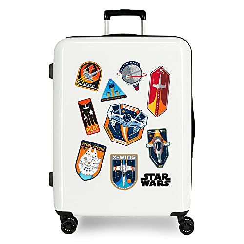Star Wars Badges Maleta Mediana Blanco 48x70x26 cms Rígida ABS Cierre TSA Integrado 81 3 kgs 4 Ruedas Dobles