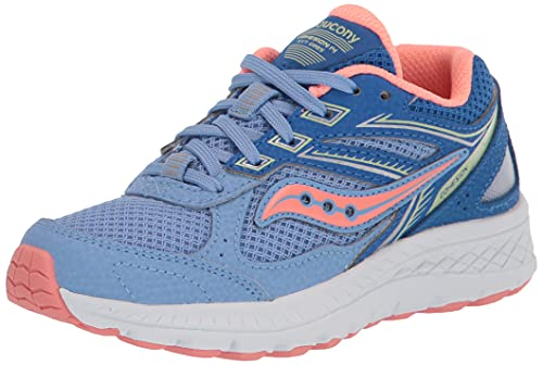 Saucony Cohesion 14 Lace to Toe Running Shoe, Blue/Coral, 4 US Unisex Big Kid