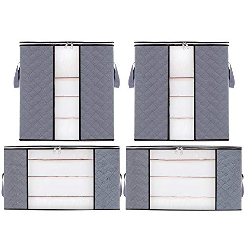 4-Pack 90L Large Clothes Storage Bag Organizer with Reinforced Handle/Sturdy Zipper /Clear Window/for Comforters,Blankets, Bedding, Collapsible Under Bed Storage (Grey)Great for Closets