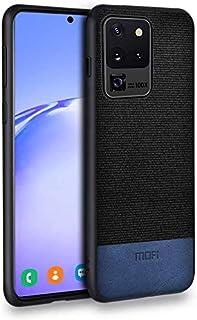 MOFI Samsung Galaxy S20 Ultra Case, Black fabric, Blue Leather