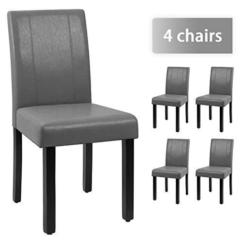 JUMMICO Dining Chair PU Leather Living Room Chairs Modern Kitchen Armless Side Chair with Solid Wood Legs Set of 4(Grey)