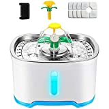 Kaulrey Cat Water Fountain Stainless Steel 84oz/2.5L Pet Water Fountain with LED Light, Ultra Quiet Pump Dog Water Fountain with 4 Carbon Filters Lntelligent Automatic Water Fountain for Cats Inside