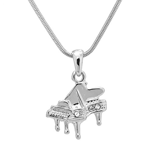 Spinningdaisy Silver Plated Crystal Grand Piano Necklace
