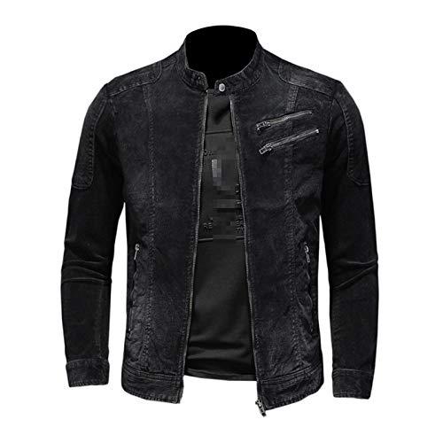 DADGS Chaqueta de pana negra para hombre, chaqueta de motociclista, abrigo de primavera, otoño, cierre delgado, cuello de pie, chaquetas de moda
