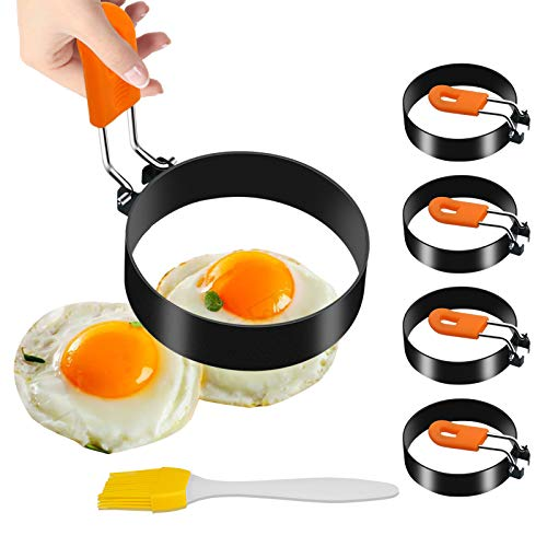 Stainless Steel Egg Ring Set  Nonstick Fried Egg Cooker Mold with Silicone Handle for Frying Eggs to Fit on Sandwiches English MuffinHousehold Breakfast Pancake Egg Shaper Tools4Pack 295in
