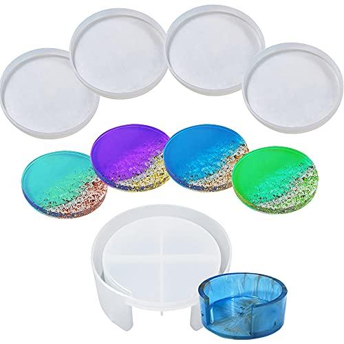 Set di 5 stampi in resina per sottobicchiere, 4 stampi rotondi in silicone e 1 stampo per sottobicchiere, stampi in resina epossidica fai da te per sottobicchieri, tazze, decotazioni per casa, sapone
