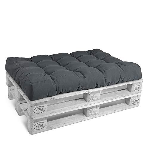 Beautissu Cuscino per bancali di Legno Eco Style - 120x80x15 cm - Comoda Seduta per Divano pancale di Legno - Grigio