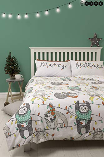 HIVE Slothmas Christmas Double Duvet Cover & Matching Pillow Case | Reversible Festive White Sloth Animal Xmas Bedding Quilt Design (Double)