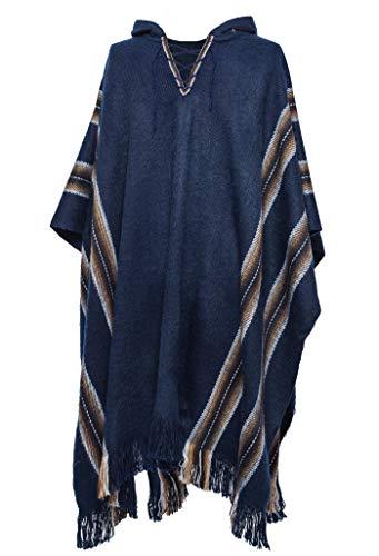 Gamboa - Warm und Weich Alpaka poncho mit Kapuze für Männer - Rustikales Design mit braunen und natürlichen vertikalen Streifen. Mit Schnürung und Fransen, Blau, Einheitsgröße