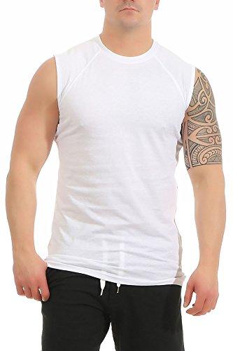 Mivaro Herren Shirt ohne Ärmel - Tank-Top - Muscle Shirt - Muskelshirt - Achselshirt - T-Shirt ohne Arm, Größe:XL, Farbe:Weiß