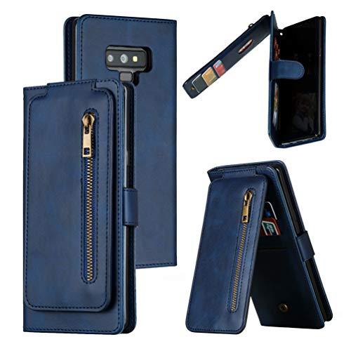 XFDSFDL® Schutzhülle für Samsung Galaxy Note9 SM-N960 (6,4 Zoll) PU Lederhülle Flip Cover Reißverschluss Tasche mit Ständer & 9 Kartenfächern Up/Down Open Flip Brieftasche Hülle, Blau