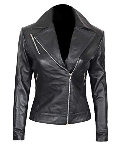Fjackets Black Leather Jacket Women - Asymmetrical Slim Fit Real Leather Moto Jacket Women   [1301204],Linda L