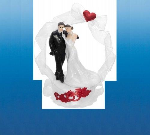 SiDeSo® Tortenaufsatz Hochzeit Tortendeko Brautpaar Tortenfigur (Podest Herz an Bogen)