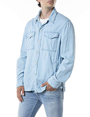 REPLAY M4048 Camisa, 010 Azul Claro, XL para Hombre