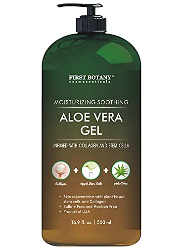 Pure Aloe vera gel - with 100% Fresh & Pure Aloe Infused with Stem Cells, Collagen, Tea Tree Oil -...