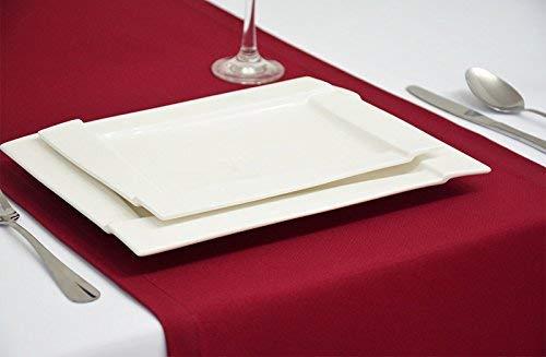 Rollmayer Edle Tischläufer Tischdecke Tischtuch Tischwäsche Pflegeleicht Kollektion Vivid (Weinrot 13, 40x120cm)