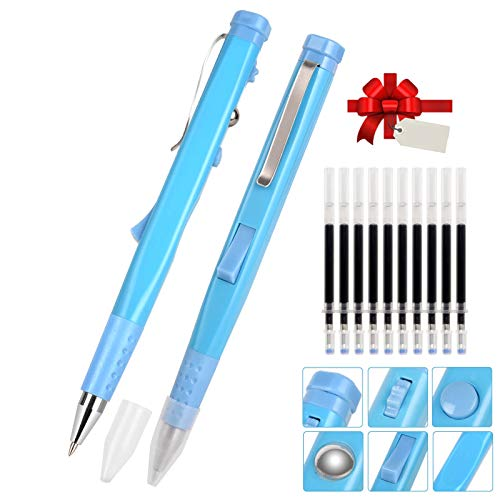 Remall Fidget Pens for Stress Relief, Black Ink Ballpoint Pens with 10 Refills, Anxiety Pen Fidget Toy for Kids Adults ADHD People at Home Office School - 2 Packs