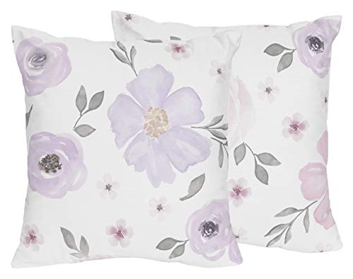 Sweet JoJo Designs Lavender Purple, Pink, Grey and White Decorative Accent Throw Pillows for Watercolor Floral Collection - Set of 2 - Rose Flower