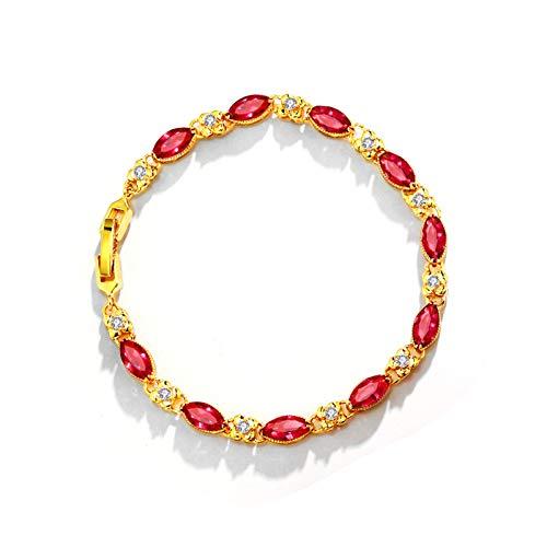 STKJ Pulsera para Mujer, Ruby Fashion Chapado En Oro De 24 K Joyas para Mujer Regalos Piedras Preciosas Pulseras De Eslabones De Varias Piedras,Rojo