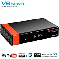 GT Media V8 Nova DVB-S2 Decodificador Satélite Receptor TV Satélite Digital con Wi-Fi Incorporado / SCART / 1080P Full HD, FTA Soporte PVR Ready, Youtube, PowerVu Dre Biss Clave