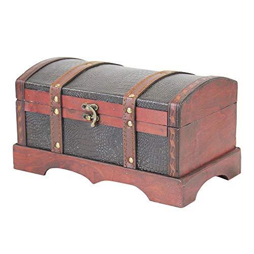 shelfmade Schatzkiste Schatztruhe Holztruhe aus Holz mit Kunstleder, (L x T x H) 30 x 17 x 16 cm, braun