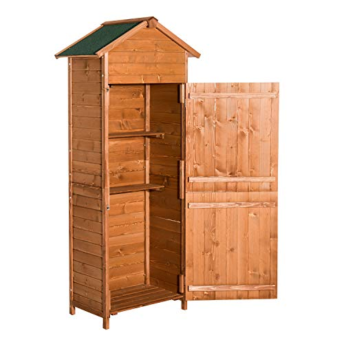 Outsunny Wooden Shed Timber Garden Storage Shed Outdoor Sheds - 190cm x 79cm x 49cm